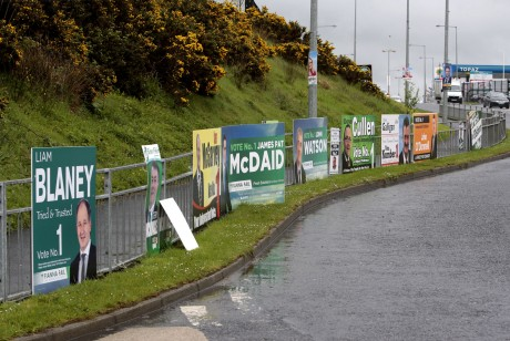 Election posters at the Mountain Top roundabout, Letterkenny, last week.