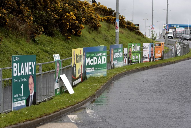 Election posters at the Mountain Top roundabout, Letterkenny, ahead of the last local elections.