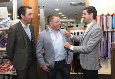 Gary O'Hanlon pictured with Mark and JP McCloskey at Evolve Menswear. Gary is wearing a Remus Polka Dot Shirt, Selected Blazer, G-Star Jeans and Tommy Bowe Footwear. Photo: Donna McBride
