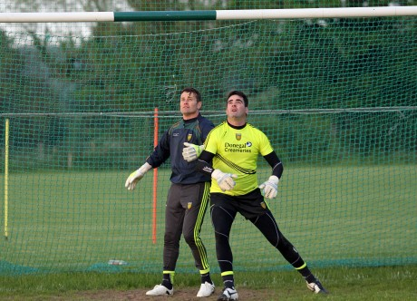 Shay Given taking part in a Donegal training session with Paul Durcan. Photo: Donna El Assaad