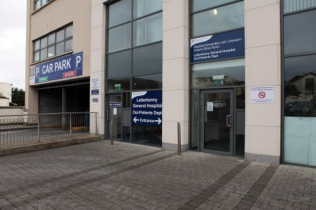 The entrance to the new Letterkenny General Hospital Out-Patients Department at the rear of the McGinley Motors building.