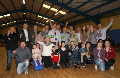 Sinn Fein take two seats in the Stranorlar Electoral Area including Gary Doherty topping the poll and Liam Doherty, pictured here with supporters including Pearse Doherty, TD. Photo: Donna El Assaad