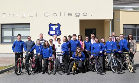 Students and teachers from Errigal College with some of the donated bicycles.