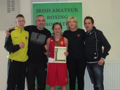 Austeja Auciute pictured after winning the National Under-18 64kgs title with Orin McDermott, Billy Quigley, Sharon Scanlon and Chris McNulty