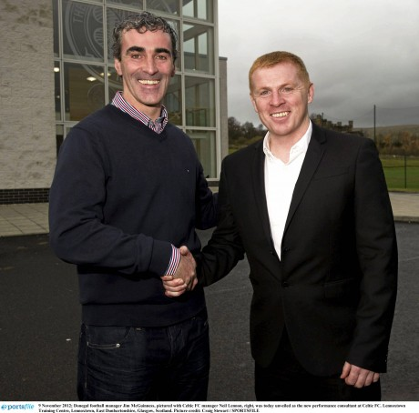 Jim McGuinness with Neil Lennon when the Glenties man was unveiled as  Performance Consultant at Celtic FC