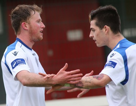 Pat Mc Cann is congratulated by Ruairi Keating after he gave Finn Harps the lead against Belgrove/Home Fam on Friday night in the Ford FAI Cup match between the sides. Photo: Gary Foy