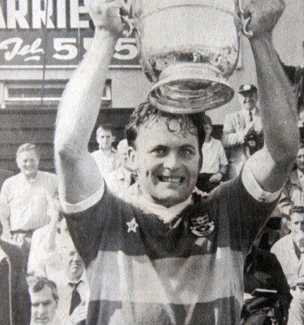 Donegal's Anthony Molloy lifting the Anglo Celt Trophy at Clones in 1990 after Donegal's Ulster final victory over Armagh.