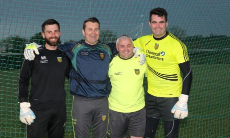 Safe hands.... Former Ireland International goalkeeper Shay Given with Donegal GAA Goalkeeping Coach Pat Shovelin and keepers' Michael Boyle and Paul Durcan at training in Convoy on Friday night. See page 42 for more coverage. Photo: Donna El Assaad