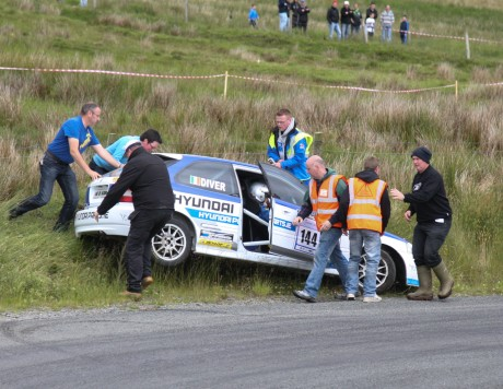 Crash...Terence Diver and Donal McElaney from Letterkenny crash out on the 2nd stage of the Donegal Rally. Photo Brian Mc Daid