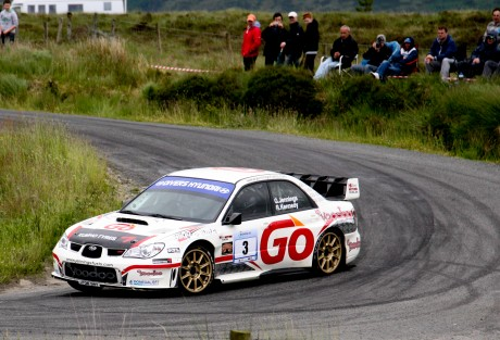 Gary Jennings and |Rory Kennedy in the Subaru WRC on the 2014 Donegal International Rally. Photo: Cristeph/Brian McDaid