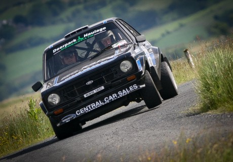 Musician from Off the Kuff, John Dolan and John Mc Glinchey from Newtowncunnigham in their Mk2 Ford Escort on the Donegal Rally at the weekend. Photo: Brian McDaid