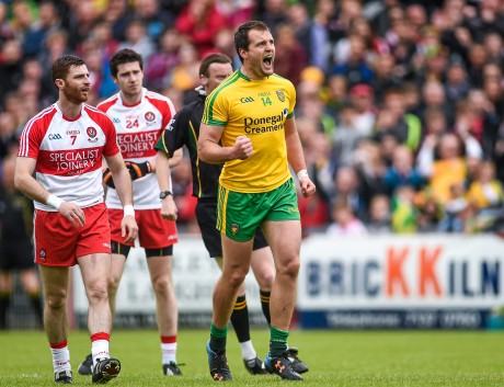 Donegal's Michael Murphy celebrates after scoring a second half point against Derry.