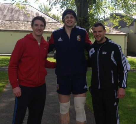 Michael Murphy and Cork player Aidan Walsh with Scottish rugby player Richie Gray at Carton House last year while Gray was on a training camp with the British and Irish Lions.