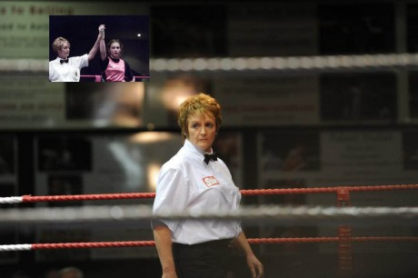 Boxing referee Sadie Duffy and (inset) raising the hand of Katie Taylor after she defeated Alanna Audley in the first officially sanctioned women's bout ever held in Ireland back in 2001.