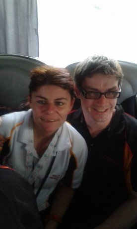 Patrick Quinlivan, who won six gold medals, with Viki McGill, who won a silver as a member of the basketball team.