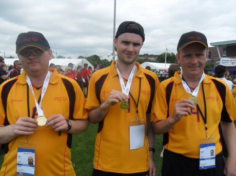 Mark McElwaine, Ethan Loughrey and Nigel Porter with their medals.