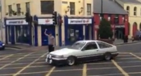 A screen shot from the video which was shared on social networks showing the Toyota Twincam performing doughnuts outside Gallagher's Hotel Main Street.
