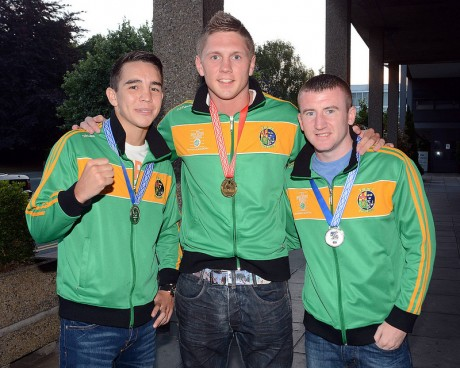 Jason Quigley pictured with Michael Conlan and Paddy Barnes last June after the European senior championships. Quigley won a gold with Conlan and Barnes taking home silver medals.