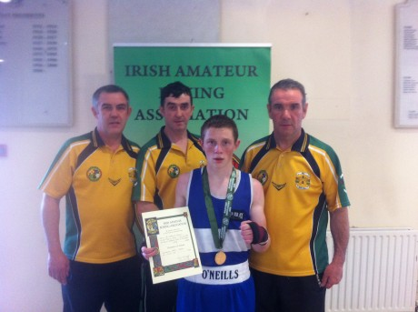 Darryl Moran with his coaches from the Illies Golden Gloves after winning the title on Saturday