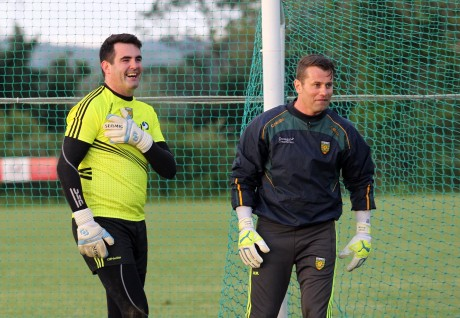Shay Given trained with the Donegal footballers on Friday night. He is pictured with Paul Durcan. Photo: Donna El Assaad