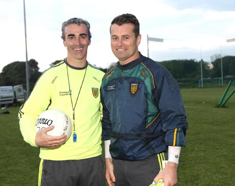 Manager Jim McGuinness and special guest at training Shay Given. Photos: Donna El Assaad