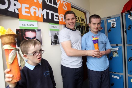 Special Olympic athletes Kyle Glackin and Kevin Coyle with teacher Mr Kevin Cassidy. Photo: Donna El Assaad