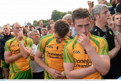 dejected Colm McFadden, Eamon McGee and Patrick McBrearty, Donegal, at the end of last year's Ulster final.