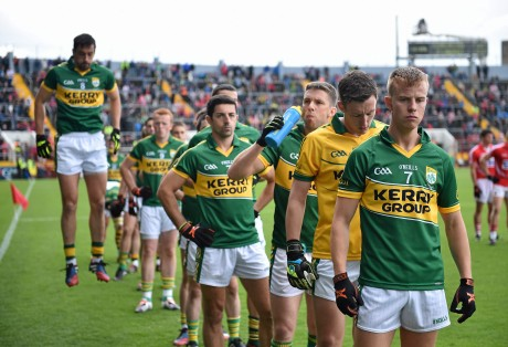 The Kerry team, led by captain Fionn Fitzgerald, line up for the pre-match parade at last Sunday's Munster final against Cork