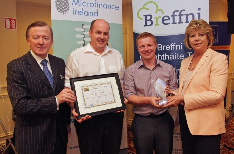 Taking First Place in the Inaugural ILDN Border Regional Enterprise Awards 2014 were John Paul Boyle and Kevin Boyle of uPilot Ltd, Donegal, they are presented with their awards by Mr John Perry, Minister of State with special responsilbility for Small Business and Norma Smurfit, Microfinance Ireland, Sponsor of the Awards.  Photo: Lorraine Teevan
