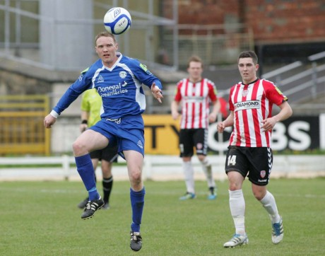 Brian McGroary in action for Derry City against Finn Harps in April 2012