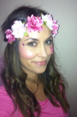 Zara wearing a home-made floral crown.