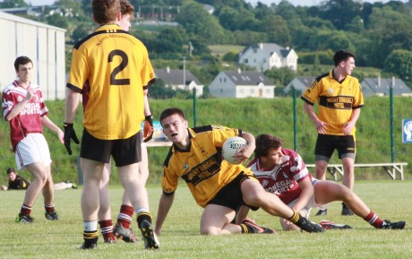 St Eunan's full-back Darragh McWalters in possession against Letterkenny Gaels on Monday evening. Photo: Darren Crossan