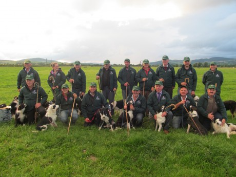 Donegal men James McGee (third from left, front row), Martin Doherty (extreme right, front row) and James McCloskey (fifth from left, back row) with the rest of the Irish team that will compete at the 2014 Irish National Sheepdog Trials in Roscommon in September.