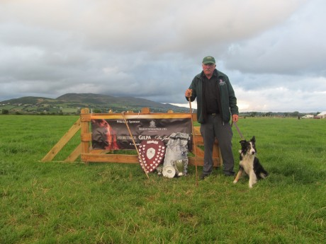 John Maginn from Newry, County Down, with his dog Mozz, who won the 2014 Irish National Sheepdog Trials in Burt, County Donegal, at the weekend.