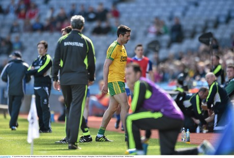 Rory Kavanagh, Donegal, leaves the pitch after being sent off. Allianz Football League Division 2 Final