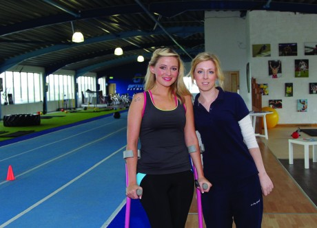 Nikki Bradley and her Physio Lorraine Boyce at Optimal Fitness gym.