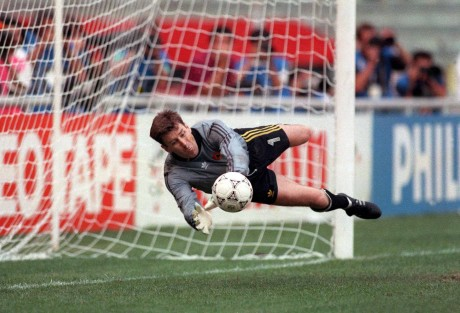 Packie Bonner saves a penalty in the shoot out 1990