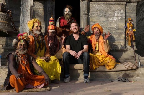Paul with some holy men in Nepal during a blessing of the dead ceremony.