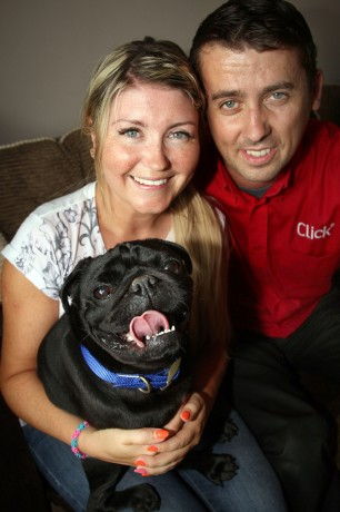 Laura and Kevin McDaid, Letterkenny, reunited with Freddie. Photo: Brian McDaid