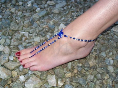 a barefoot sandle creation by Alison Gallagher as modelled by Laura Harte from Ramelton.