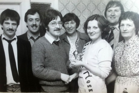 1981 Rose of the Finn committee members Liam Mc Colgan, Tommy Kelly, Theresa Costello, Noel Slevin and Rose Reid (RIP), with Pat Gallen and Eithne Lafferty (Gallens Rose).