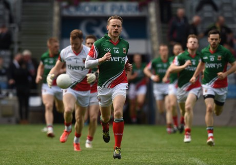 Mayo captain Andy Moran leads his team out before the All-Ireland SFC quarter-final against Cork.