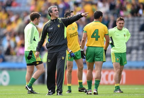 Jim McGuinness issues instructions to his players at Croke Park on Saturday.