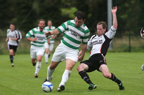 Cockhill's Garbhan Friel gets away from Chris Malseed of Letterkenny in last weekend's Donegal News Cup semi-final. The teams meet again this Sunday.
