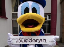 Donald Duck is looking forward to the street party.