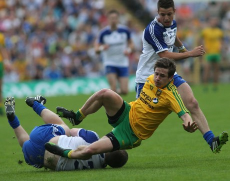 Darach O' Connor and Drew Wylie clash during the Ulster Final.