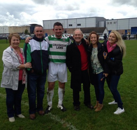 The Friel family, including Stephen (second left) and Garbhán (third left) celebrate after Cockhill Celtic won the Ulster Senior League on Sunday.