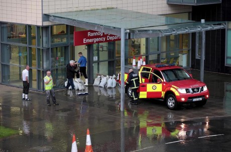 The scene at Letterkenny General Hospital last night following a second flood in two years. Pic: Declan Doherty
