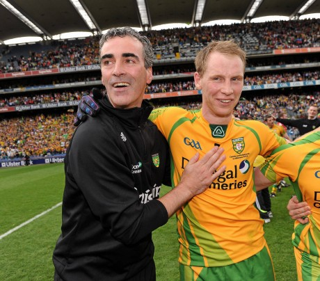 Donegal manager Jim McGuinness celebrates with Anthony Thompson after the 2012 All-Ireland final