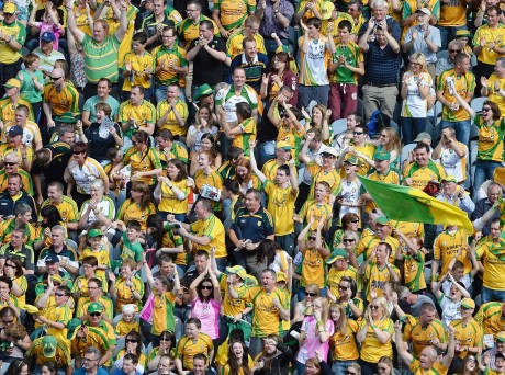 Donegal supporters celebrate Odhran MacNiallais's goal against Armagh during the All-Ireland quarter final in Croke Park on Saturday. Donegal went on to win the game by a point. Photo: Daire Brennan/Sportsfile.